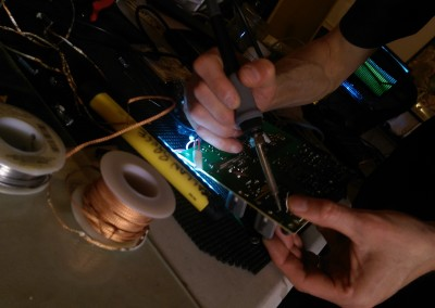 soldering a circuit board